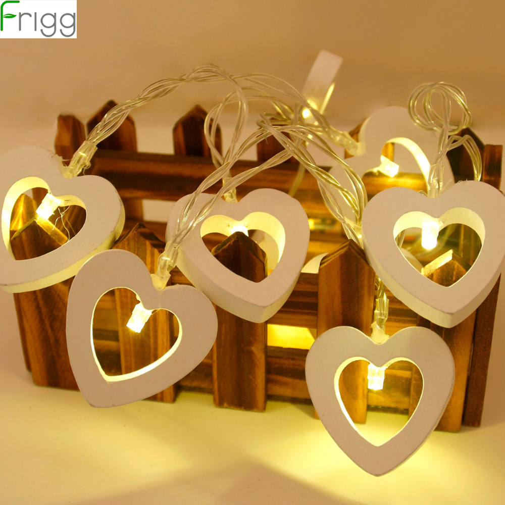 Frigg 10 LED Wooden Heart Shape String Fairy Lights Wedding Event Party Decoration Romantic Valentine's Day Home Decoration