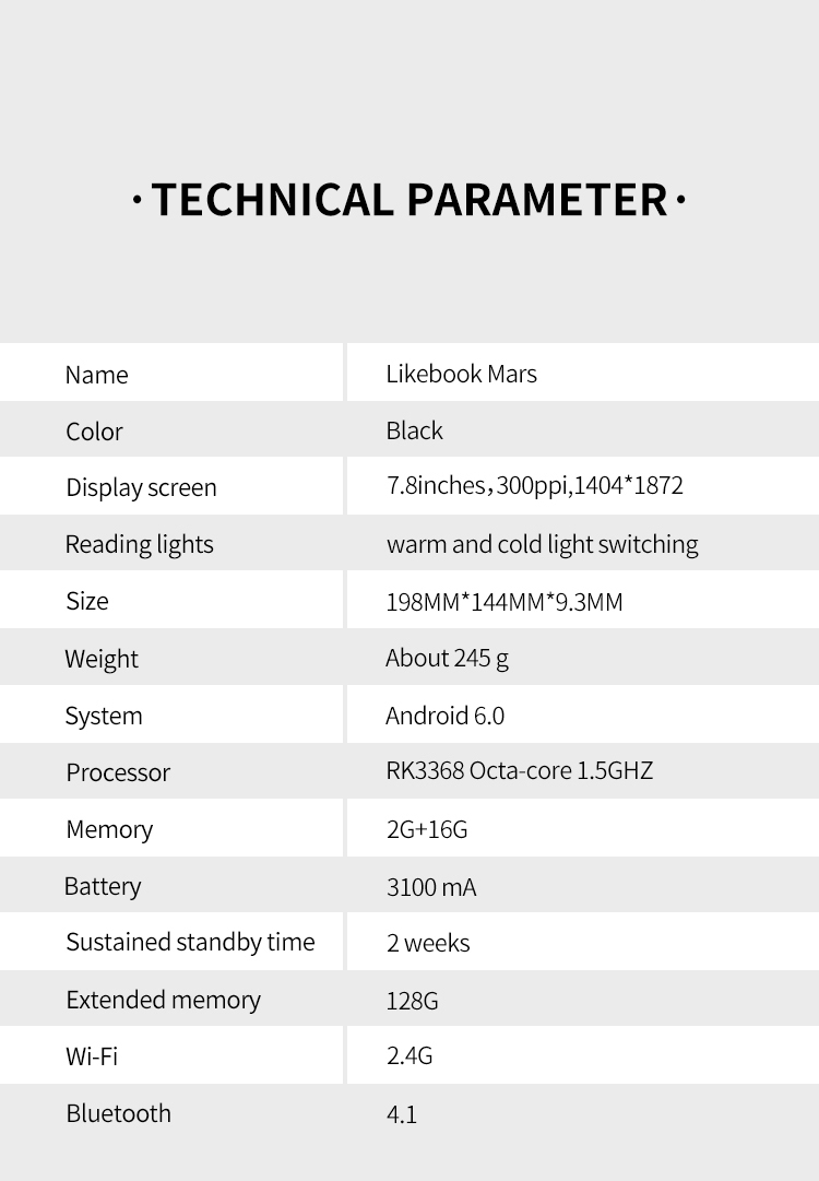 BOYUE 7.8 Inch T80D Likebook Mars eBook Reader e-ink eReader 8 Core Android 6.0 2G/16G Card Slot 128G Extend Front Light e-Book