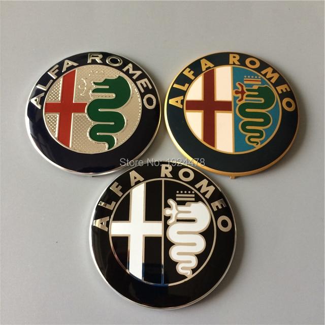 50pcs 74mm Alfa Romeo Gold Black Silver Car Badge Emblems Badges Emblem Stickers For Mito Gt 147 156 159 166 Giulietta Spider