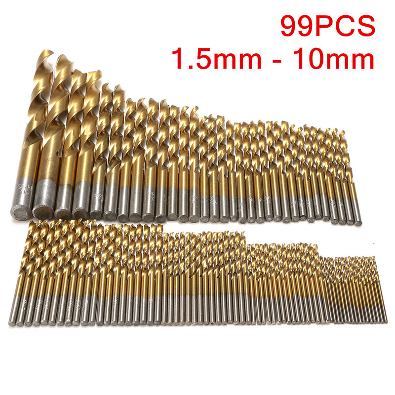 99pcs Titanium Coated Drill Bits Mayitr HSS Twist Drill Bit Set 1.5mm-10mm For Woodworking Tools 99pcs mayitr hss drill bits set titanium coated woodworking drilling tools 1 5mm 10mm