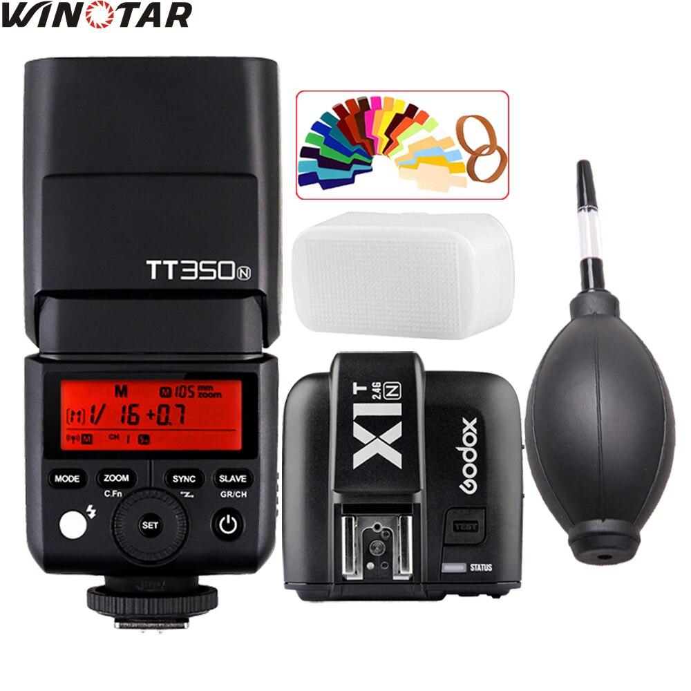 GODOX TT350 TT350N MINI Flash Speedlite TTL 2.4G HSS GN36 1/8000s + X1T-N Trigger for Nikon DSLR godox v860ii n v860iin gn60 i ttl hss 1 8000s speedlite flash w li ion battery x1t n flash transmitter optional for nikon