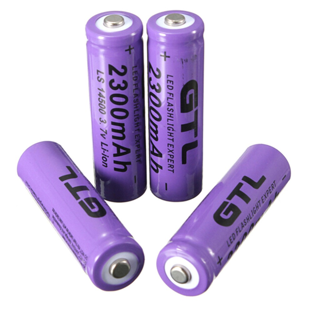 4pcs 3.7V 2300mAh 14500 AA Li-ion Rechargeable Battery NiMH and NiCd Rechargeable Battery For RC Aircraft RC Cars Purple