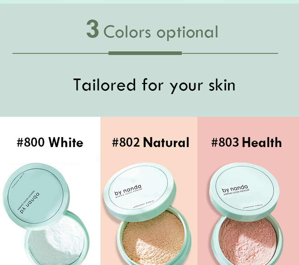 BY NANDA 3 Color Translucent Pressed Powder With Puff Smooth Face Makeup Foundation Waterproof Loose Powder 2