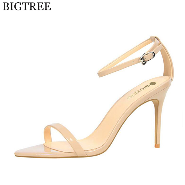 Aliexpress.com : Buy BIGTREE Concise Nude Women's sandals High ...