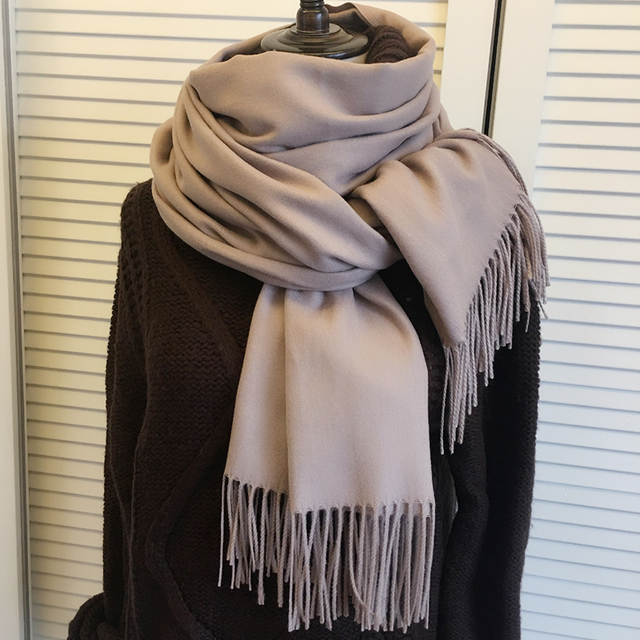 Women solid color cashmere scarves with tassel high quality 1