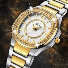 e0841aca5 المرأة الساعات النساء أزياء ووتش 2019 جنيف مصمم السيدات ووتش الفاخرة العلامة  التجارية الماس الكوارتز الذهب ساعة معصم الهدايا للن.