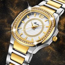 Zegarki damskie moda damska zegarek 2020 genewa projektant panie zegarek luksusowy markowy diament złoty zegarek kwarcowy prezenty dla kobiet tanie tanio MISSFOX QUARTZ Klamerka z zapięciem STAINLESS STEEL 3Bar Moda casual 20mm ROUND Odporna na wstrząsy Odporne na wodę
