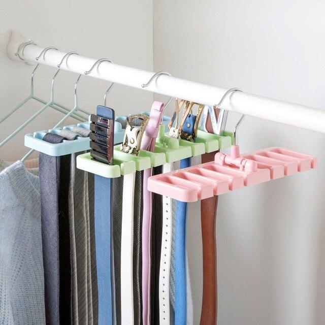 Multifuction Ties Belt Storage Rack Rotating Tie Organizer Hanger Holder Shelf Closet Organization E