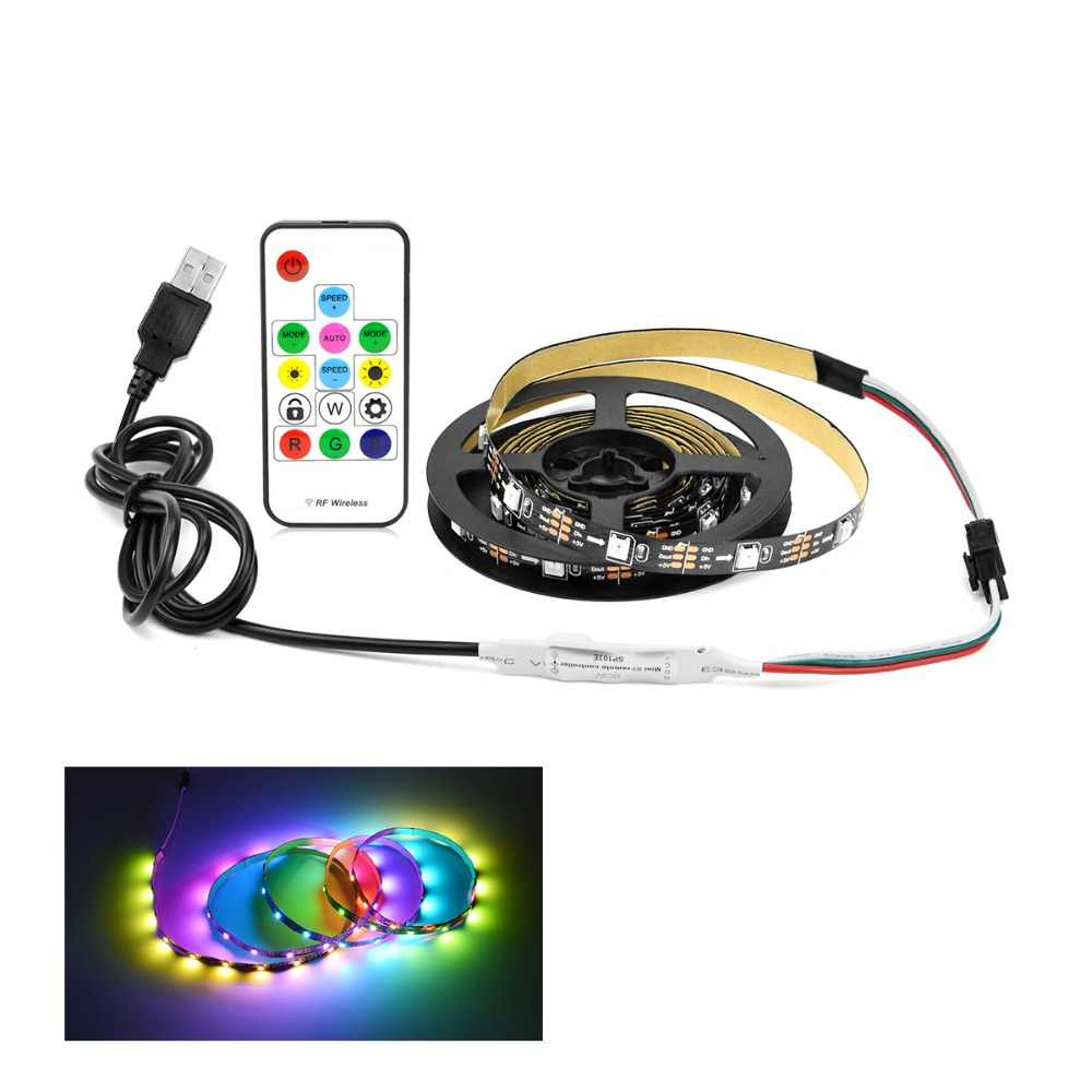 Aimengte DIY Dream Warna Fairy Lampu Kabinet Lampu DC5V Addressable Pixel RGB USB LED Strip untuk V Lemari Lemari Tangga natal