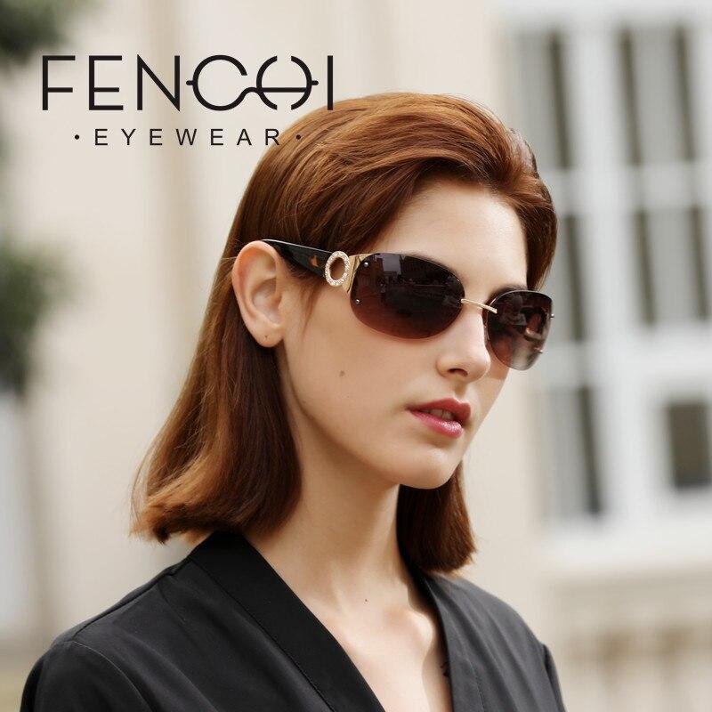 FENCHI strass surdimensionné lunettes de soleil Design spécial marque de luxe femmes Anti-réfléchissant rose lunettes conduite zonnebril dames