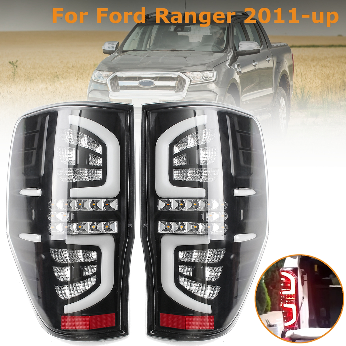 1 paire pour Ford Ranger Queue Clair Lire LED Feu arrière Stop Feux De Travail Tournant Caractéristique pour PX Mk1 /Mk2 XL XLS XLT 2011 +