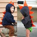 Bebé de la manera Niños de Los Niños Del Muchacho Del Bebé Dinosaurio de Manga Larga Con Capucha de la Chaqueta Escudo Abrigos Dino Traje