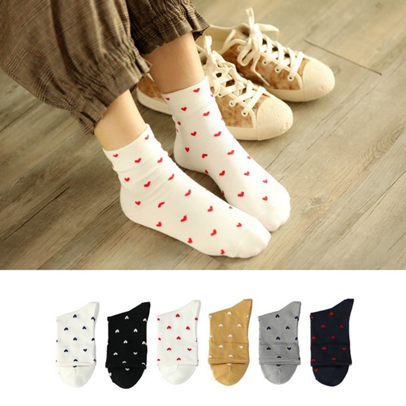 Adult Size Soft Red Hearts Short   Socks   Loyal Royal Lady Silken Pure True Love Rib Patterning Mecerized Cotton Spring 2018 New
