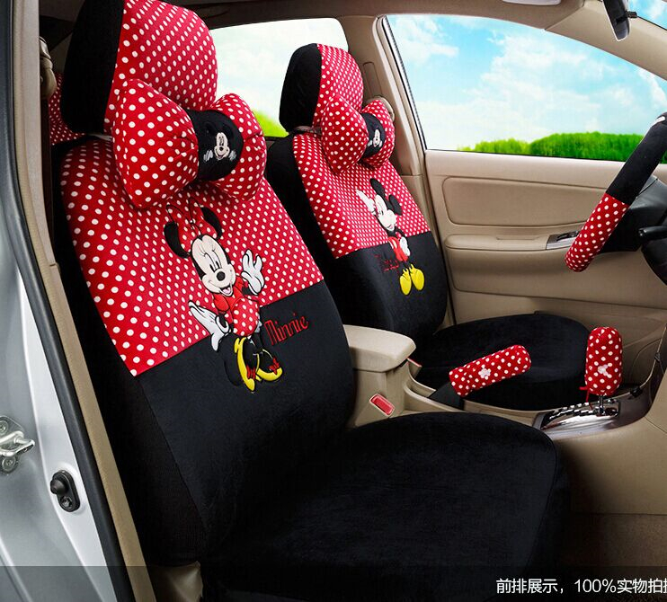Car styling red black beige mickey minnie mouse car seat - Car seat covers for tan interior ...