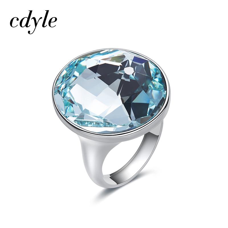Cdyle Embellished with crystals from Swarovski Wedding Ring Austrian Rhinestone Romantic Anniversary Women Jewelry Blue Purple