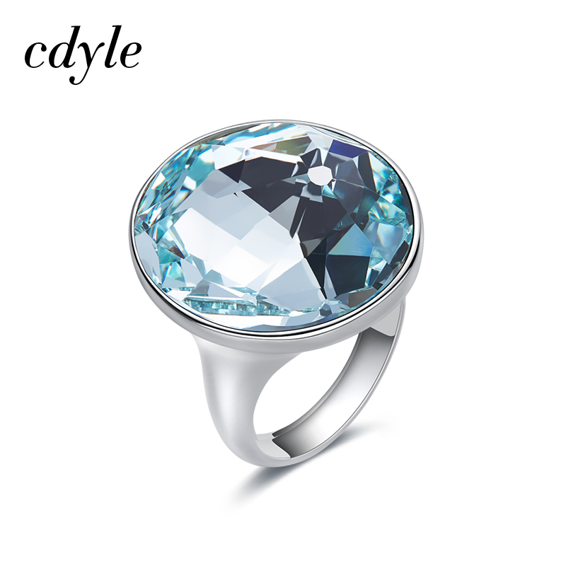5e5b64fc67481 US $43.84 49% OFF|Cdyle Embellished with crystals from Swarovski Wedding  Ring Austrian Rhinestone Romantic Anniversary Women Jewelry Blue Purple-in  ...