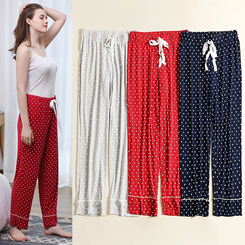 RenYvtil Lady's Long Pure Cotton Women Sleep Bottoms Women's Lightweight Modal Soft Pajama Sleep Wear Pants Warm Cozy Summer