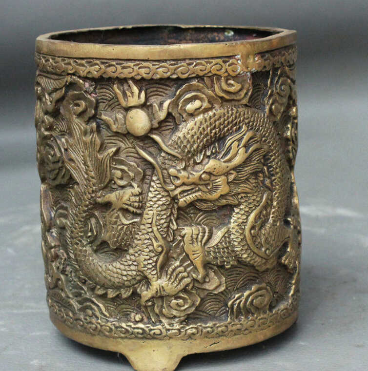"SUIRONG---612 + + 4 ""Cinese FengShui Brass JiXiang Dragon Ball Statue Brush Pot Matita Vaso"