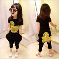 2016 new boys and girls big yellow duck casual cotton short-sleeved T-shirt + harem pants suit