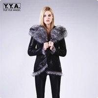 Новое поступление модные Искусственная кожа Женская Куртка карманы на молнии зимние женские пальто плюс Размеры мотоциклетные Костюмы каз