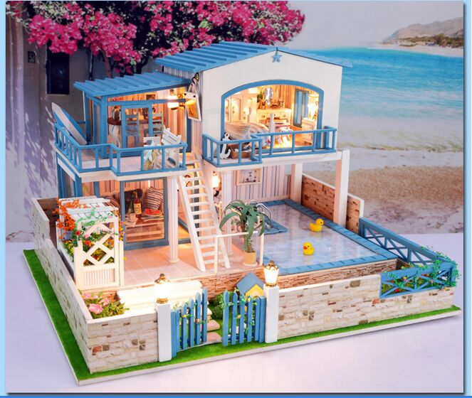 Diy miniature wooden dollhouse seattle villa cute room with dust creative valentines day gift 2 floors large flat diy miniature model kit wooden doll house solutioingenieria Image collections