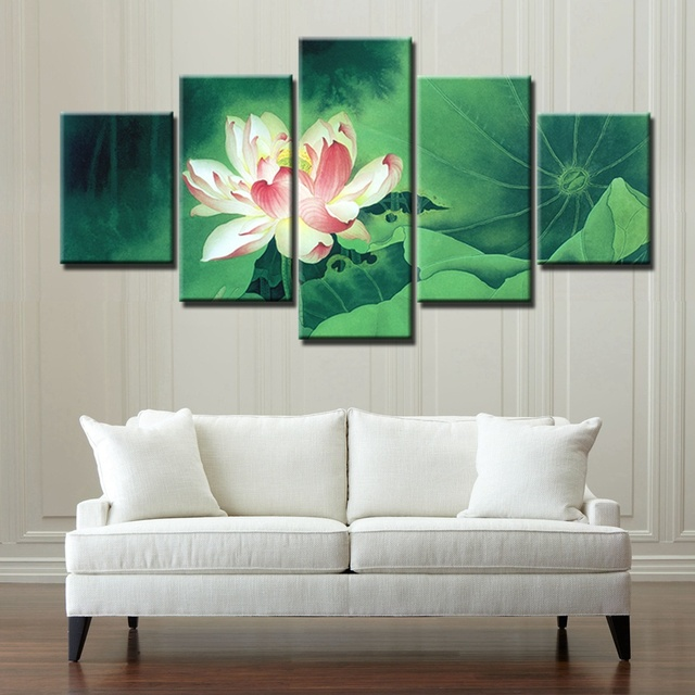 Chinese painting elegance lotus flowers home decoration canvas painting for office wall art canvas print artwork