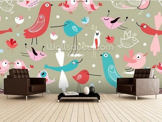 Custom wallpaper for children. Funny Birds,3D mural for children's room living room bedroom wall wall waterproof PVC wallpaper book knowledge power channel creative 3d large mural wallpaper 3d bedroom living room tv backdrop painting wallpaper