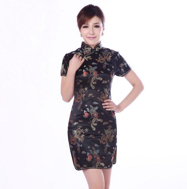 5099a80162 US $11.71 35% OFF|Vintage Black Chinese Traditional Women's Dress Plus Size  4XL 5XL 6XL Qipao Cheongsam Mandarin Collar Satin Short Tight Dress -in ...