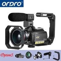 Ordro AC5 4 К UHD цифровые видеокамеры Видеокамеры Full HD 24MP Wi Fi ips сенсорный экран 100X Digtal увеличить 12X оптический DV мини видеокамеры