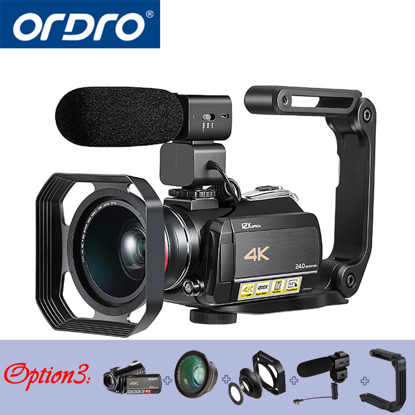 Ordro AC5 4 k UHD Digital Video Fotocamere Videocamere FHD 24MP WiFi IPS Touch screen 100X Digtal Zoom 12X Ottico DV Mini Videocamere