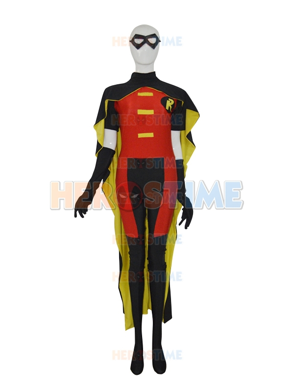 Classic Lycra spandex Robin Strong Mens' Superhero Costume Red & Yellow & Black Robin Costume Halloween Cosplay Suit