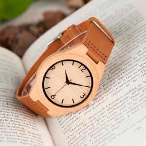 Image 5 - בובו ציפור WA31A32 במבוק עץ שעונים לגברים נשים מספר סולמות רצועת עור אוהבי קוורץ שעון