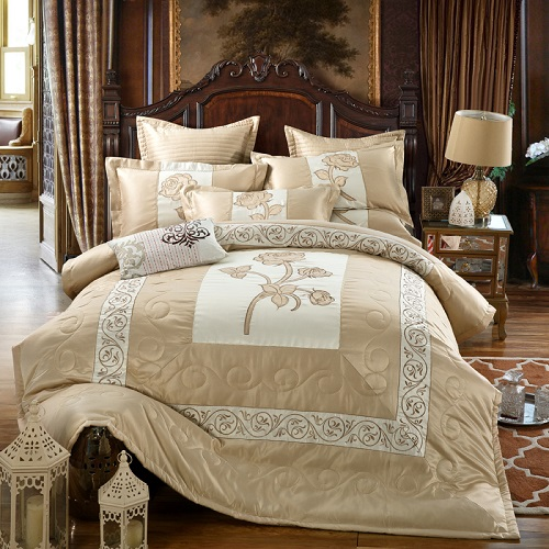 Luxury Silk Cotton Gray Purple Bedding Sets 46 Pcs King Queen Size Embroidery Bed set Duvet Cover Bed Spread set Pillowcases 38