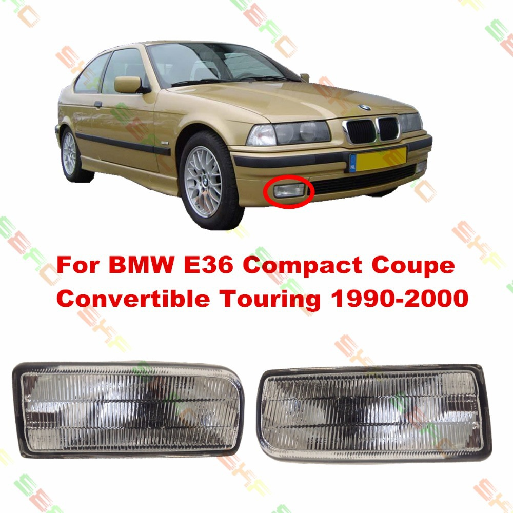 For BMW E36 Compact Coupe Convertible Touring 1990/91/92/93/94/95/96/97/98/99/2000  car styling fog lights   1 SET Pattern glass bmw m3 e30 coupe