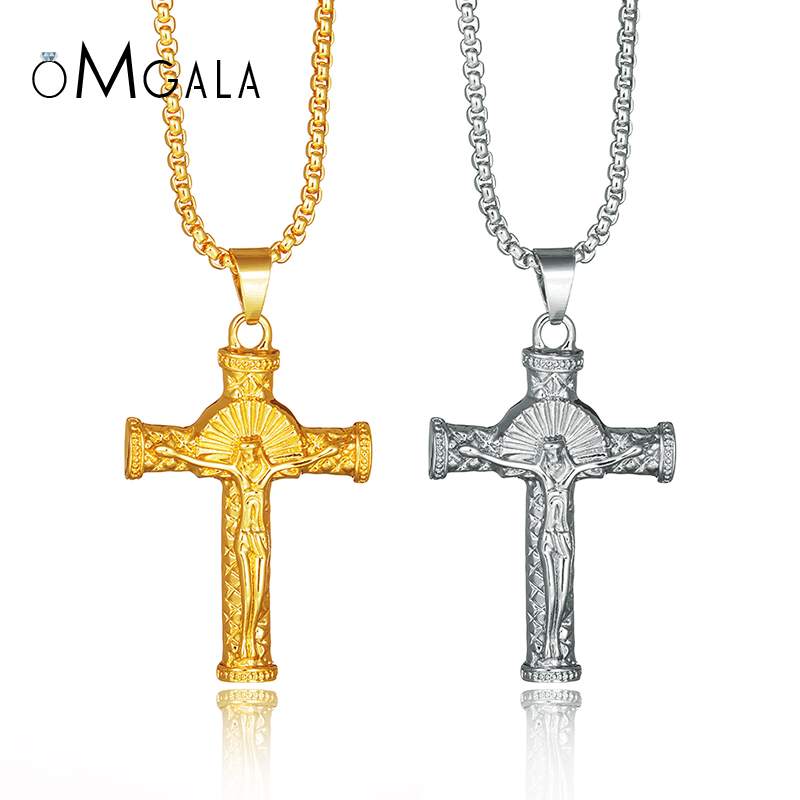 OMGALA Cross Necklace INRI Crucifix Jesus Piece Long Chain Pendant Necklace Men Women Hip Hop Gold Color Jewelry For Party Gifts