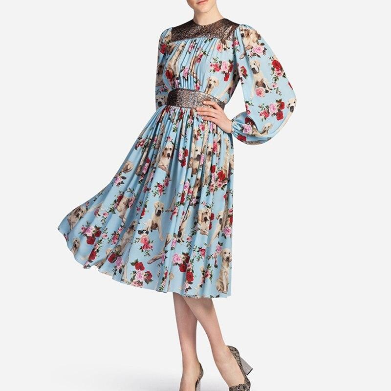 Hot Sale Women Dog Print Dress Elegant O-Neck Long Sleeve Pleated Dresses 5317