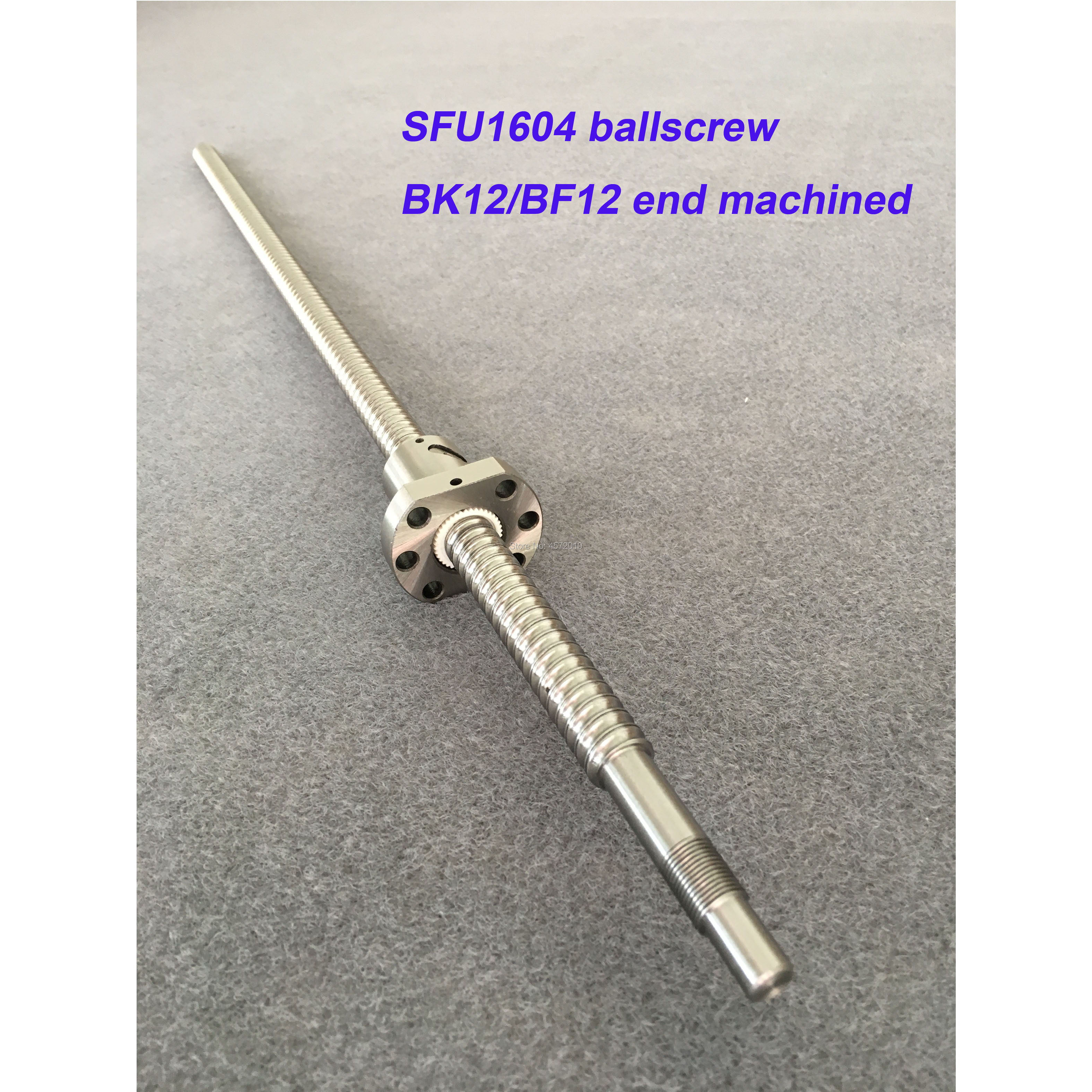 SFU1604 BallScrew 1200 1500mm Rolled Ball screw with single Ballnut for CNC parts BK/BF12 standard end machined