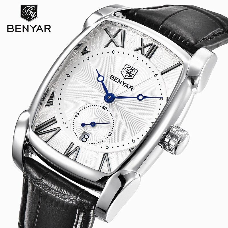 Benyar 2017 Luxury Brand Quarzo Mens Orologi Militari Impermeabili In Pelle Da Uomo Orologi Orologio Maschile Erkek Kol Saati Relogio