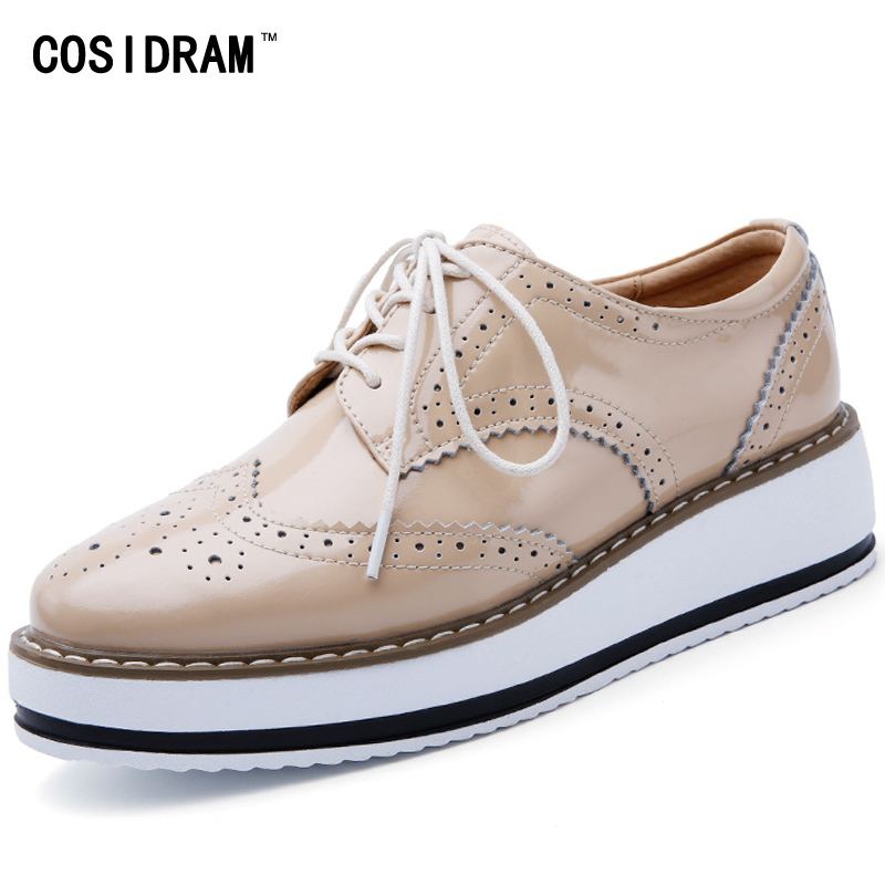 COSIDRAM Brogue Women Shoes New 2017 Genuine Leather Oxford Shoes For Women Oxfords Platform Women Flats Ladies Shoes BSN-002 qmn women crystal embellished natural suede brogue shoes women square toe platform oxfords shoes woman genuine leather flats