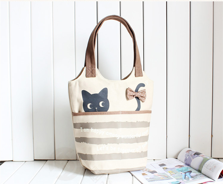 Online Shop Cute cat imprint canvas tote bag , cheap reusable ...