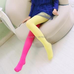 Image 3 - Meisjes Snoep Kleur Panty Voor Baby Kids Leuke Fluwelen Panty Contrast Combinatie Kleur Meisje Lente/Herfst Warme Dans Kousen