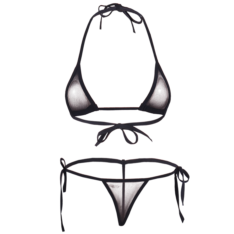 Women Lingerie   Set   Women's Sheer Extreme Bikini Halterneck Top and Tie Sides Micro Thong Sexy Holiday Summer Beach   Bra     Sets