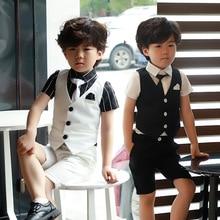 Летний комбинезон для мальчиков детский костюм из 3 предметов, Одежда смокинги для мальчиков, свадебный наряд, Детский комплект, От 3 до 8 лет, одежда для детей