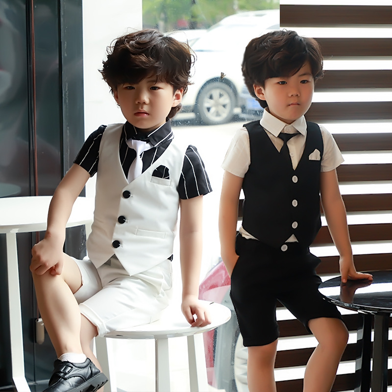 Summer Boys Rompers Suit New Kids 3 Pcs Suit Clothes Tuxedos Boy Wedding Attire Kids Set 3-8T Children Clothing