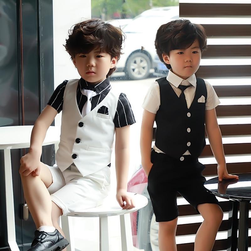 Summer Boys Rompers Suit New Kids 3 Pcs Suit Clothes Tuxedos Boy Wedding Attire Kids Set 3-8T Children Clothing