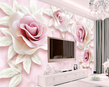beibehang Interior Personality Wallpaper Fresh and Simple 3d Embossed Pink Rose 3D TV Bedroom Background wallpaper for walls 3 d