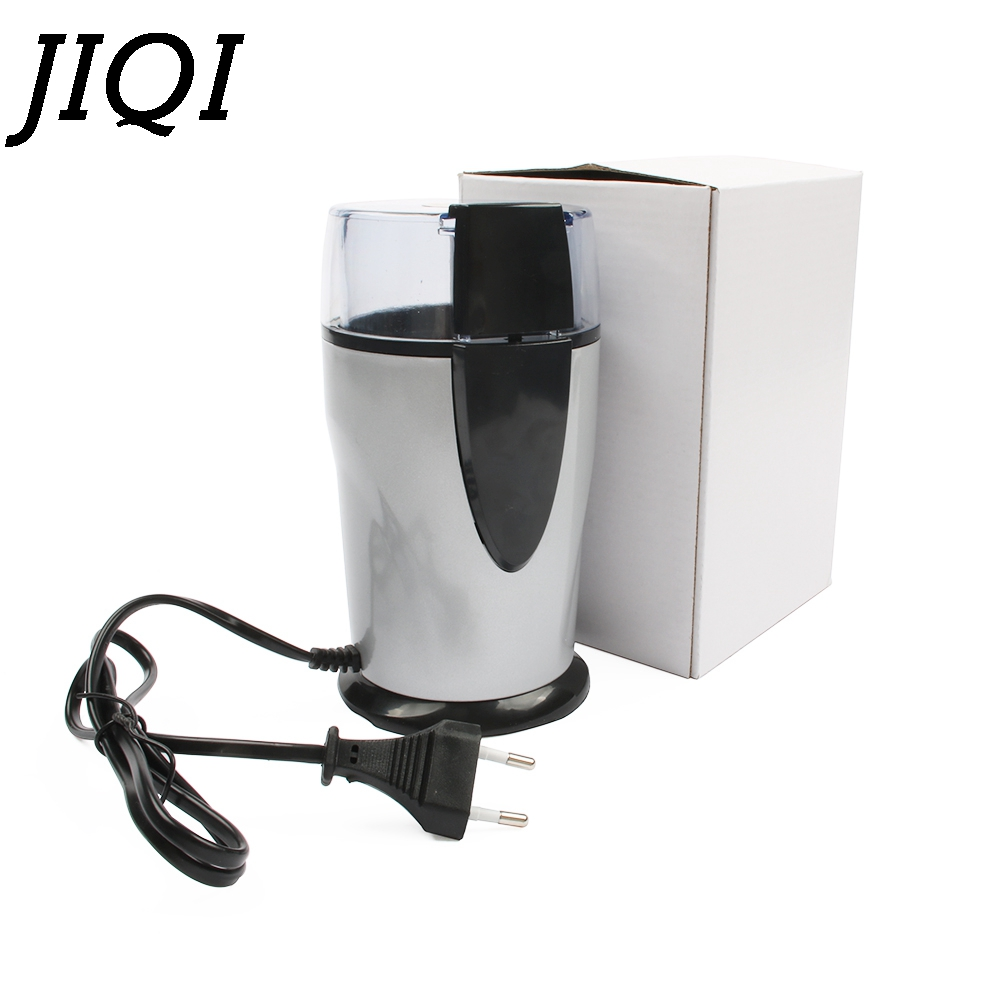 JIQI Electric Coffee grinder 220v-240V ELECTRICAL COFFEE herbs mill beans nuts grinding machine stainless steel blades Euro plug yf200 stainless steel automatic grinding mill herbs grinder machine with high quality can grind stone 220v 50hz