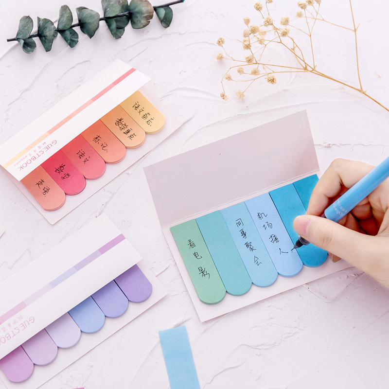 2 PCS Cute DIY Color Gradient Office Novelty Sticky Notes Planner Stickers Page Index Post School Office Supplies Stationery Islamabad