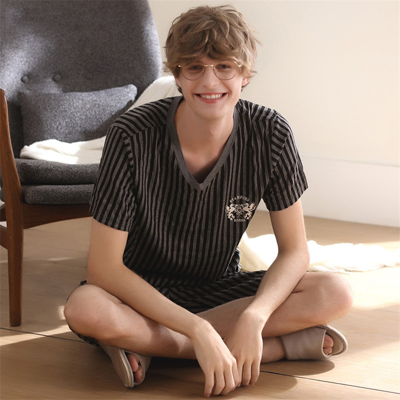 Summer New Cotton Short Sleeved Men Pajamas Sets Male Thin Pajama Set For Men Stripe Sleepwear Suit Homewear Size M-XXXL