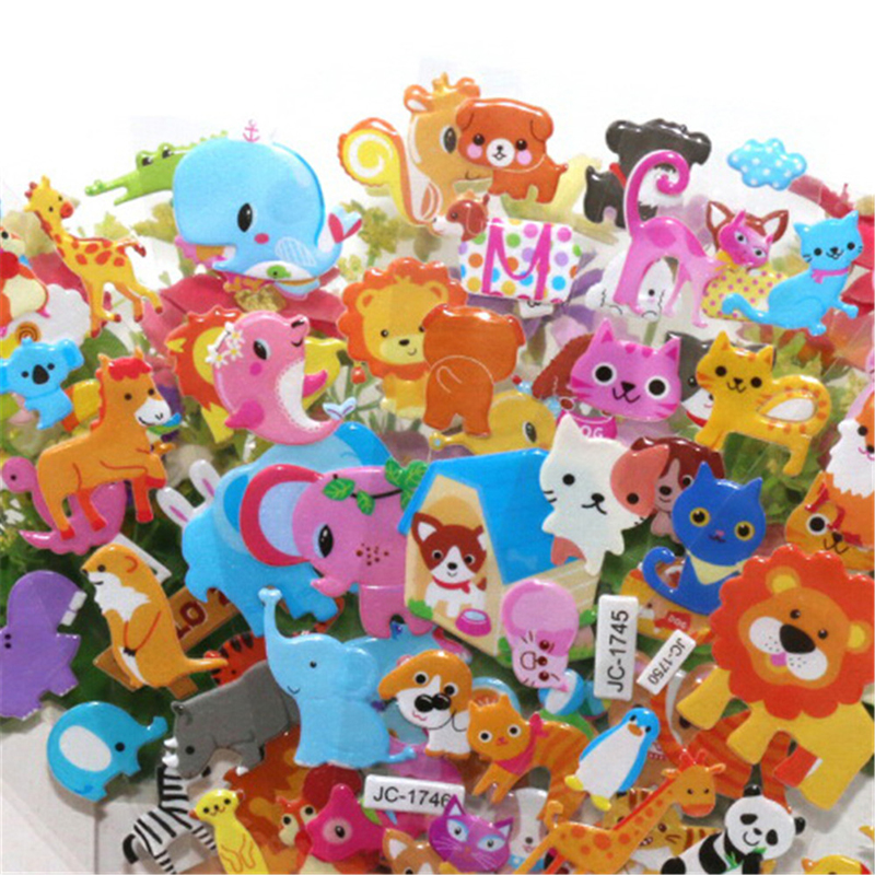 Classic Toys School Teacher Reward New 5 Sheets Cute 3D Cartoon Animal PVC Bubble Puffy Stickers Kids Girl Boy Dinosaurs
